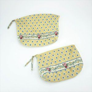 Vera Bradley 2 Piece Set Patterned Yellow Quilted
